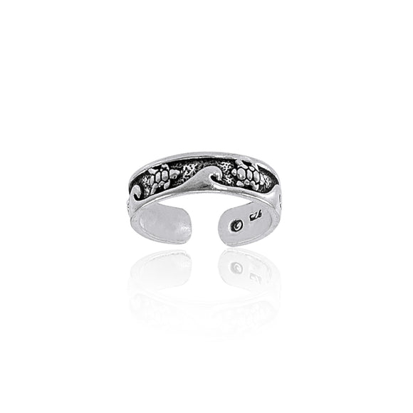 Turtle and Waves Toe Sterling Silver Toe Ring TR608 - Toe Rings