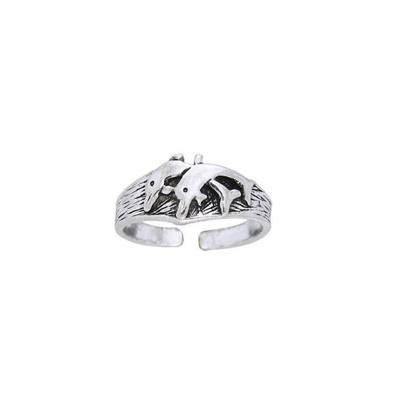 Twin Dolphins Sterling Silver Toe Ring TR614
