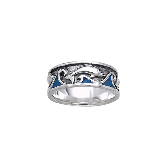 The Inlaid Playful Dolphin Sterling Silver Ring TRI042
