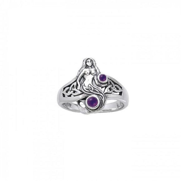 Celtic Mermaid Sterling Silver Ring TRI045