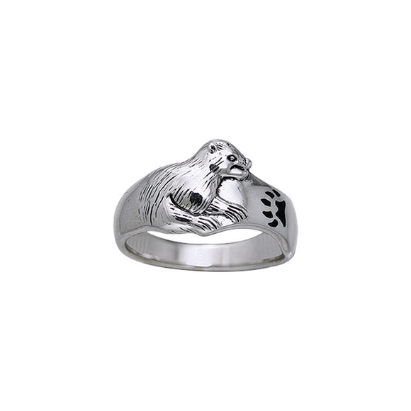 Sea Otter Sterling Silver Ring TRI106