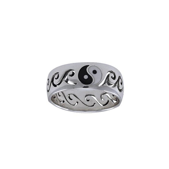 Ying Yang Surfers Sterling Silver Ring TRI1226