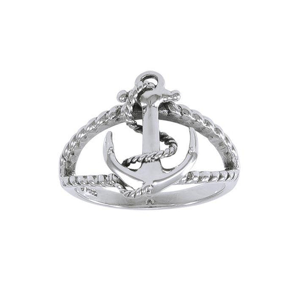 Rope Anchor Sterling Silver Ring TRI1461