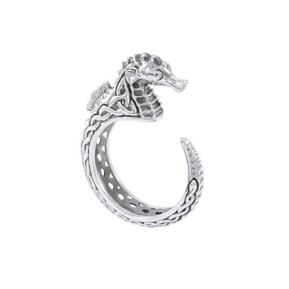 Celtic Accent Seahorse Sterling Silver Wrap Ring TRI1633 - Rings