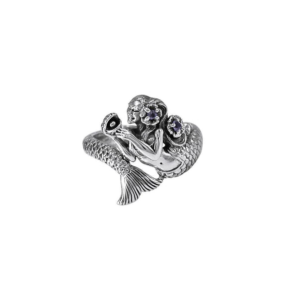 Mermaid Wrap Around Silver Ring with Gemstone TRI1710 - Rings