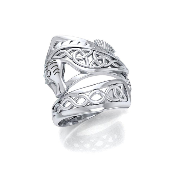 Celtic Knots Silver Seahorse Spoon Ring TRI1737 - Rings
