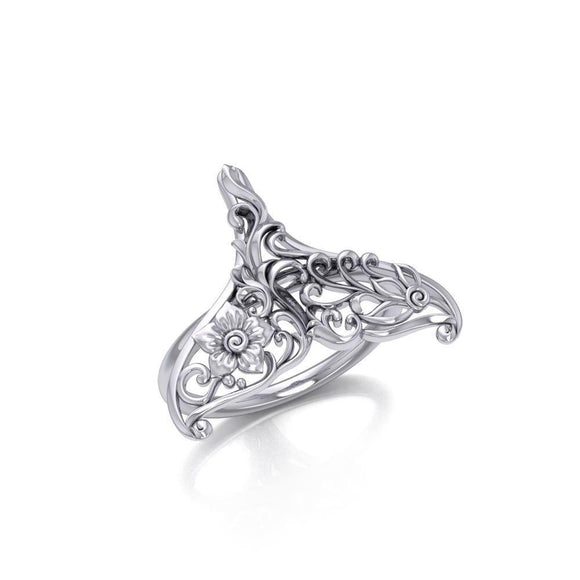 The graceful tale Silver Whale Tail Filigree Ring TRI1793