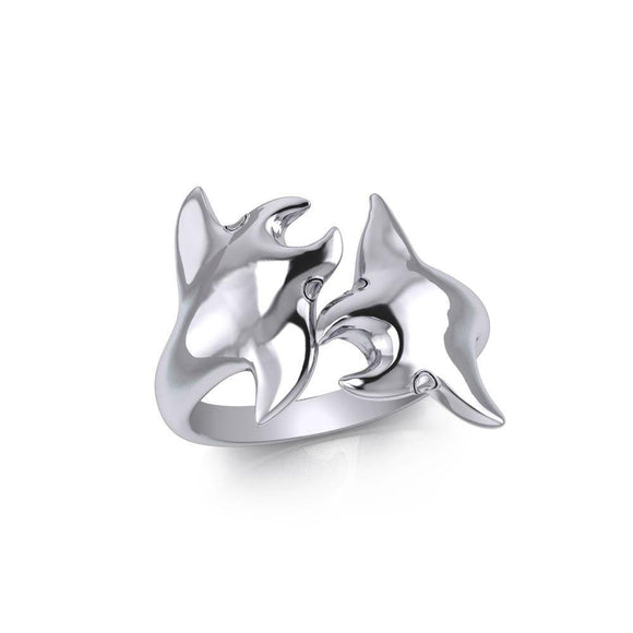 Double Manta Ray Silver Ring TRI1832