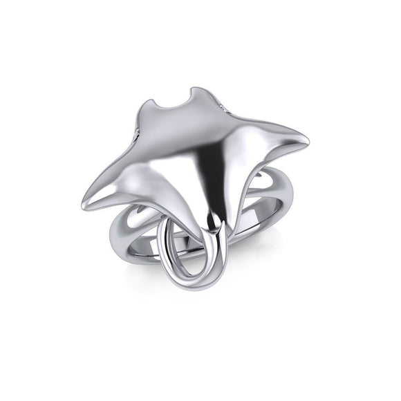Large Manta Ray Silver Ring TRI1834