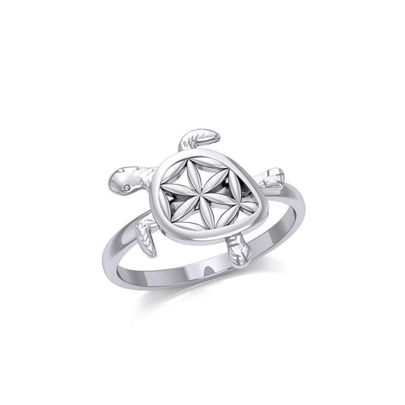 Swimming Turtle with Flower of Life Shell Silver Ring TRI1895