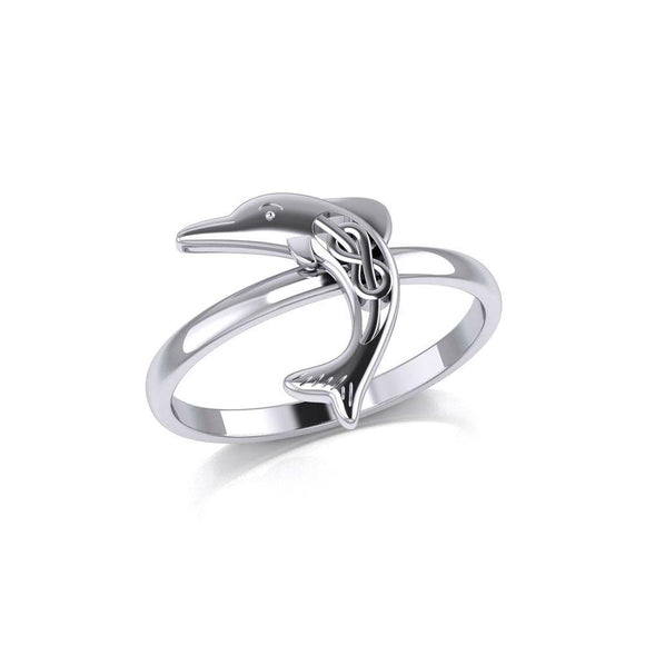 Celtic Joyful Dolphin Sterling Silver Ring TRI2164