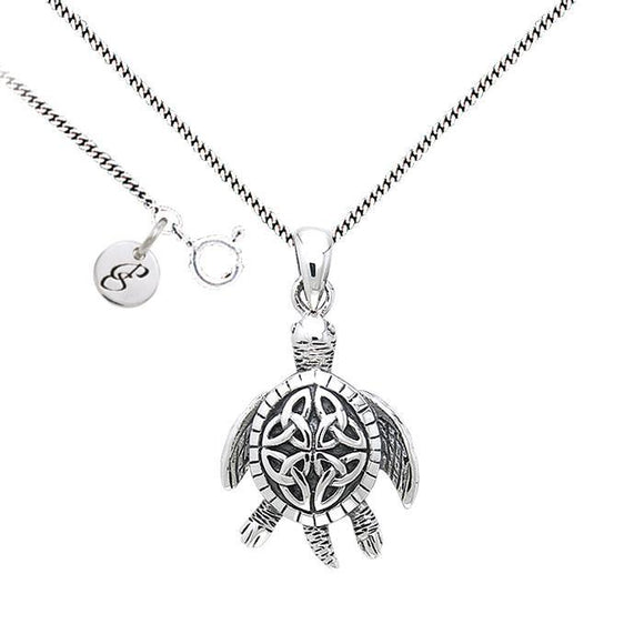 Celtic Knot Sea Turtle Silver Necklace Set TSE687