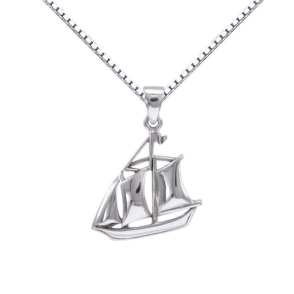 Sail as Far as the Majestic Schooner ~ Sterling Silver Jewelry Necklace TSE692 - Pendants