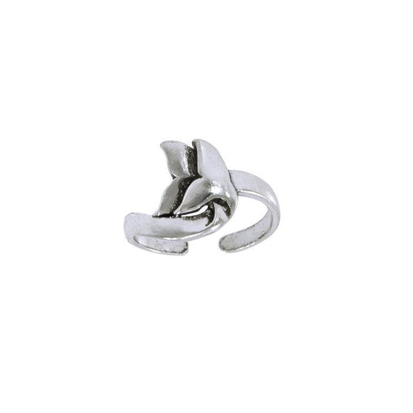 Double Whale Silver Wrap Ring Sterling Silver Toe Ring TTR092