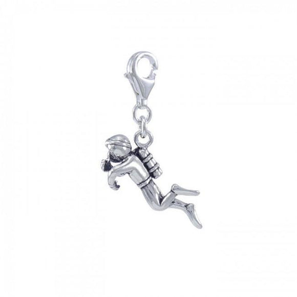 Diver Sterling Silver Clip On Charm TWC159