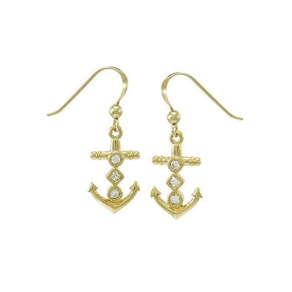 Anchor Gemstone Earrings VER1451 - Earrings