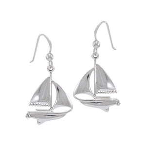 Sailboat Sterling Silver Hook Earrings WE152