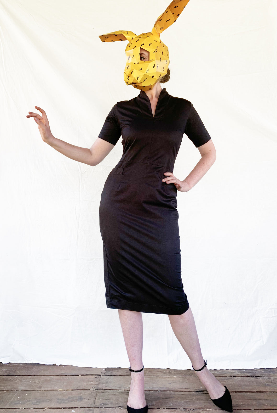 Black Pencil Dress with Pockets