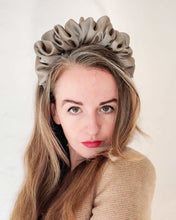 Load image into Gallery viewer, A Beige/Grey Scrunchie Headband Eco Friendly