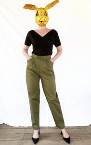 High waist Trousers with scalloped pockets - Olive Green