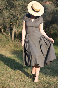 Fitted Dress with Gathered Pleats