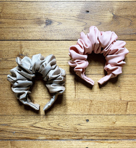 A Beige/Grey Scrunchie Headband Eco Friendly