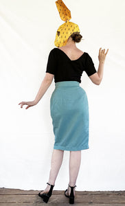 Pencil Skirt with wrap detail and hip pocket - Teal