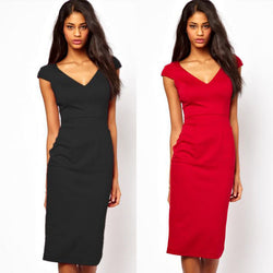Cotton Women Classy Sexy Solid V-Neck Slim Fitted  Pencil  Dress Knee-Length FreeShipping