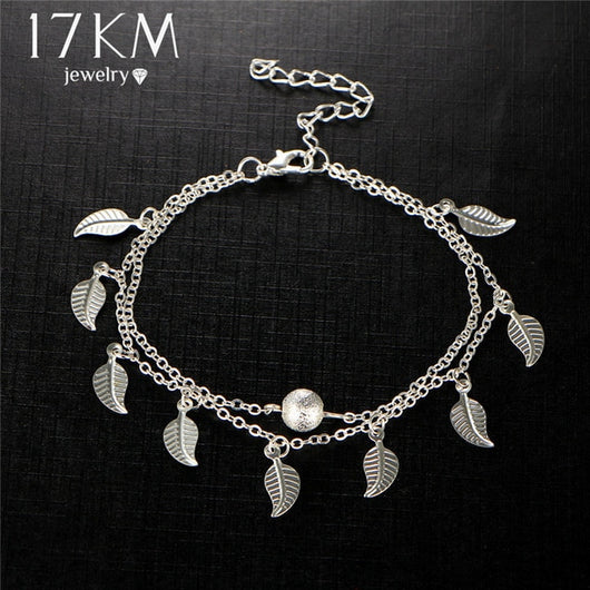 Bohemian 2 Color Double Leaves Pendant Anklet Foot Chain Bohemian Handmade Beads Anklets Foot Gothic Boho Jewelry