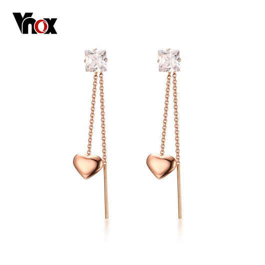 Vnox Heart Long Shiny CZ Stone Dangle Drop Earrings (Rose Gold-color)