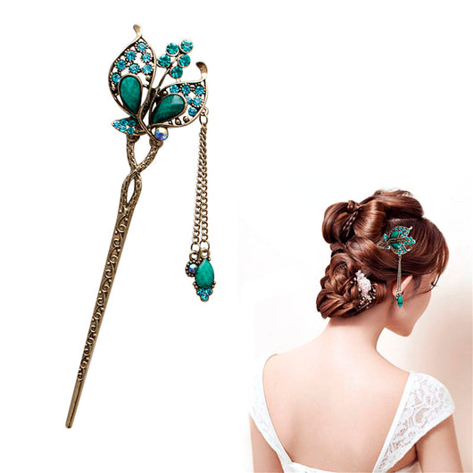 Women Elegant Butterfly Leaves/Rhinestone Hair Stick Pin