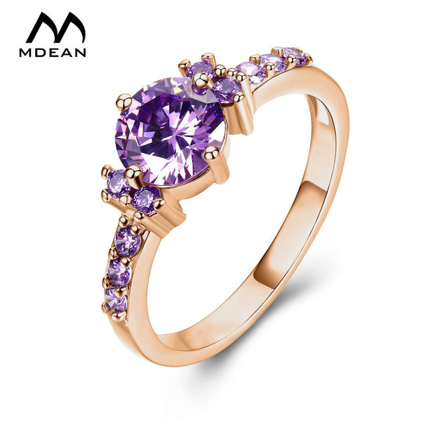 Rose Gold Color Ring Purple Stone AAA Zircon Jewelry