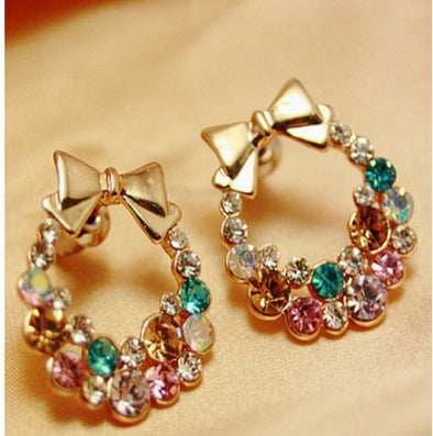 Pearl Butterfly Bow Stud Earrings