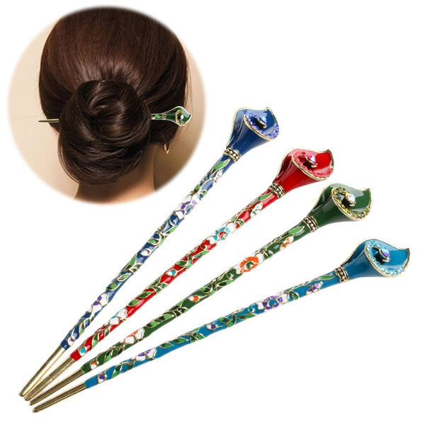 Women Metal Rhinestone Handmade  Chopsticks airpin Pin Chignon