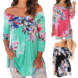 Women's Floral Print Long Sleeve Off Shoulder Long Blouses