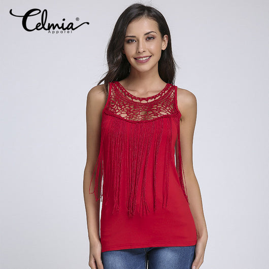 Women  Sleeveless  Lace Crochet Tassels Tank Top