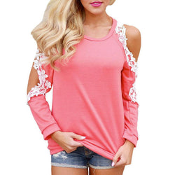 Fashion Cold Shoulder Lace, Long Sleeve Ladies Blouse