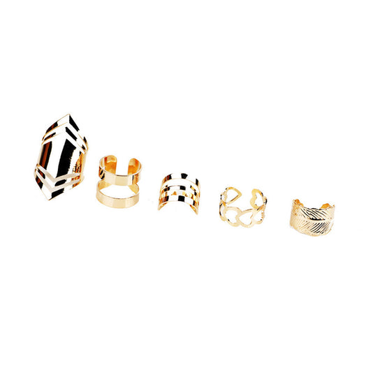 5pcs/Set Women Bohemian Vintage Silver Stack Rings Above Knuckle Rings Set