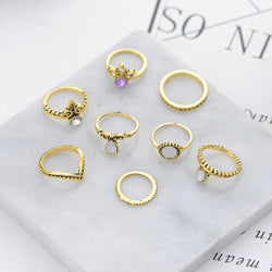 8Pcs/Set Vintage Silver Arrow Set Finger Knuckle Rings-Gold