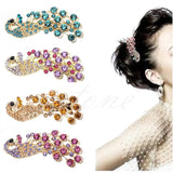Retro Full Crystal Rhinestone Peacock Barrette
