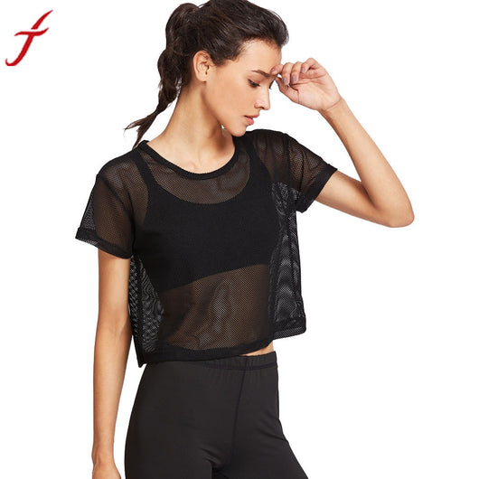 Women's Fashion Fitness T shirt  Black Mesh Sporting Top