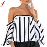 Women Ladies Striped Casual Off the ShoulderMid Sleeve Crop Blouses