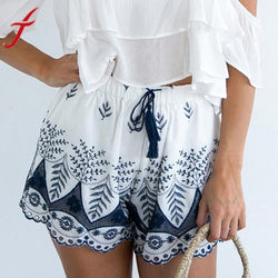 Women's Embroidery Bohemian High Quality Elastic High Waist Lace Shorts  Free Shipping