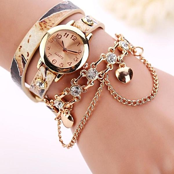 Women's Leather Rhinestone Rivet Chain Quartz Bracelet Wristwatch