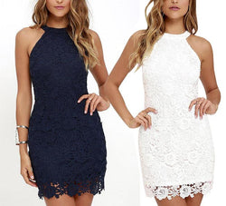 Hanging Neck  Lace Dress