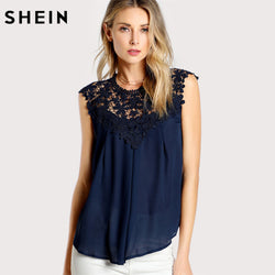 Elegant Women  Keyhole Back Daisy Lace Shoulder Navy Sleeveless Asymmetrical Blouse