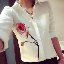 Women Long Sleeve Rose Flower Blouse Turn Down Collar Chiffon Shirts