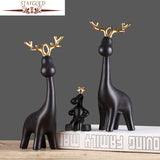 STAYGOLD Ceramic & Enamel Three Deer Family Ornaments