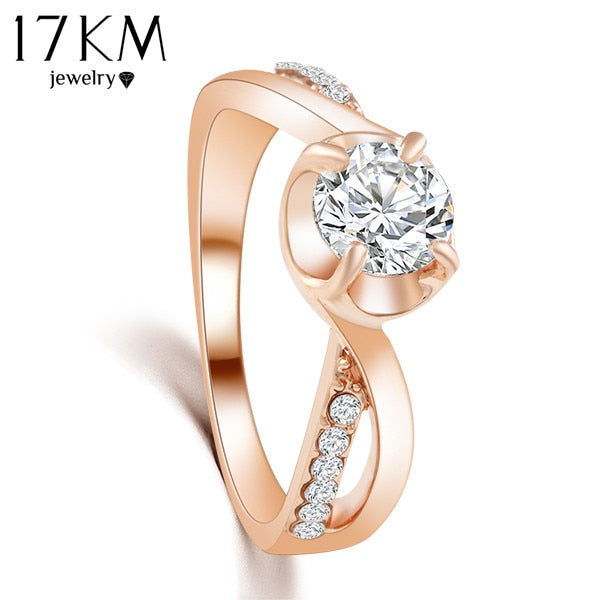 New Design  Rose Gold Color Zircon Crystal Ring