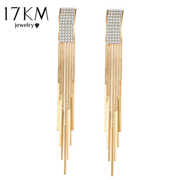 17KM Gold Color Crystal Bar Long Dangle Drop Earring